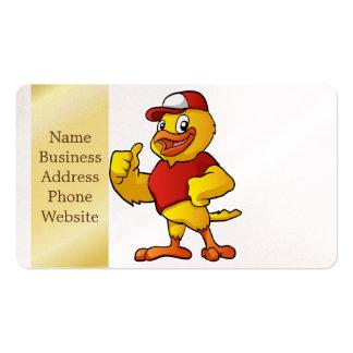 desenhos animados amarelos do pássaro cartão de visita