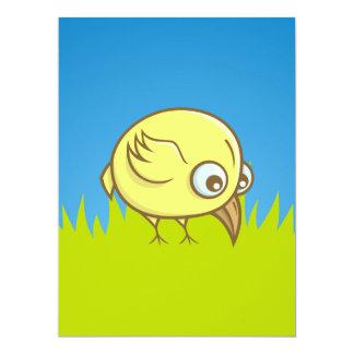 Desenhos animados amarelos do pássaro convite 16.51 x 22.22cm