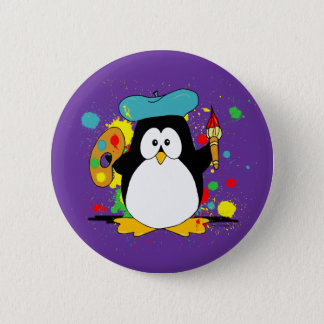 Desenhos animados artísticos do pinguim bóton redondo 5.08cm