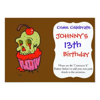 desenhos animados assustadores do cupcake do convite 12.7 x 17.78cm