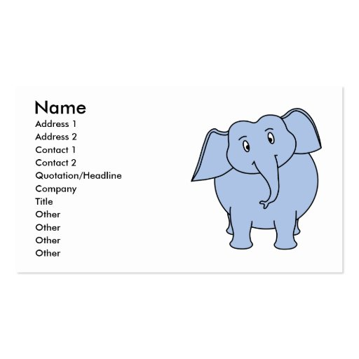 Desenhos animados azuis bonitos do elefante modelos cartao de visita