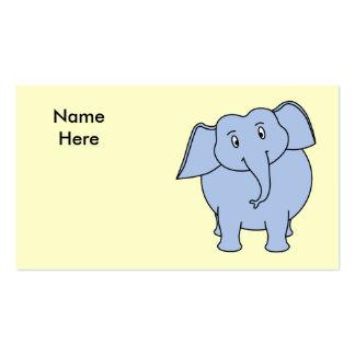 Desenhos animados azuis bonitos do elefante modelos cartão de visita
