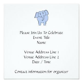 Desenhos animados azuis bonitos do elefante convite quadrado 13.35 x 13.35cm