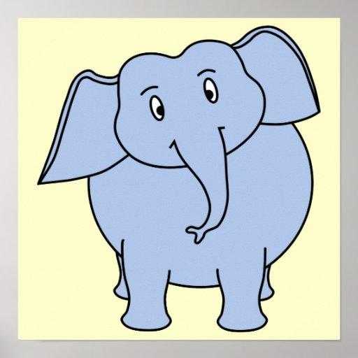 Desenhos animados azuis bonitos do elefante pôsteres