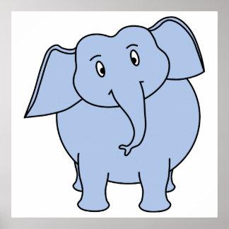 Desenhos animados azuis bonitos do elefante poster