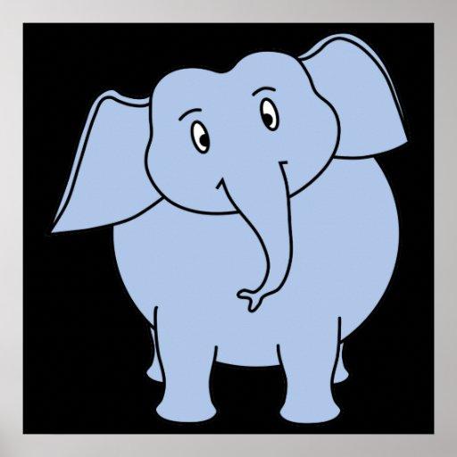 Desenhos animados azuis bonitos do elefante posters