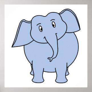 Desenhos animados azuis bonitos do elefante impressão