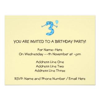Desenhos animados azuis do aniversário de 3 anos convites personalizados