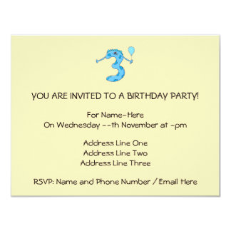Desenhos animados azuis do aniversário de 3 anos convite 10.79 x 13.97cm