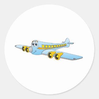 Desenhos animados azuis do avião de passagem O Adesivo Em Formato Redondo