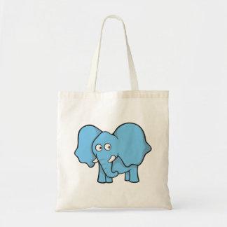 Desenhos animados azuis do elefante sacola tote budget