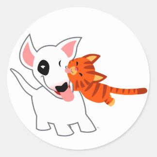 Desenhos animados bonitos bull terrier e etiqueta adesivos em formato redondos