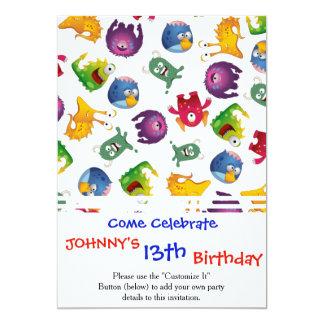 Desenhos animados bonitos coloridos do convite 12.7 x 17.78cm