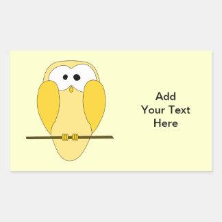 Desenhos animados bonitos da coruja. Amarelo Adesivo Retangular