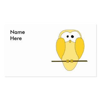 Desenhos animados bonitos da coruja. Amarelo Cartão De Visita