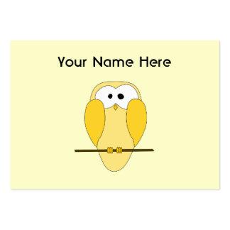 Desenhos animados bonitos da coruja. Amarelo Cartão De Visita Grande