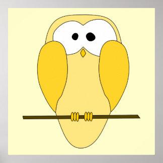 Desenhos animados bonitos da coruja. Amarelo Poster