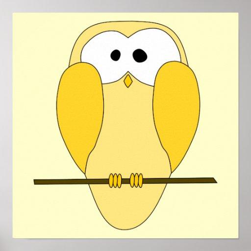 Desenhos animados bonitos da coruja. Amarelo Impressão