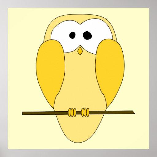 Desenhos animados bonitos da coruja. Amarelo Posters