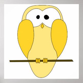 Desenhos animados bonitos da coruja Amarelo Impressão