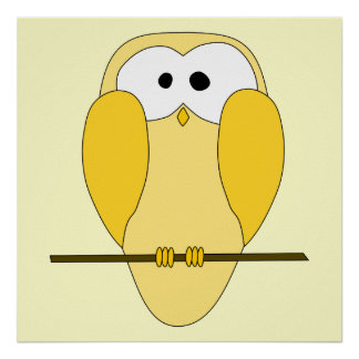 Desenhos animados bonitos da coruja Amarelo Pôsteres