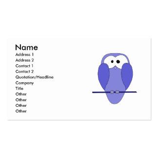 Desenhos animados bonitos da coruja. Azul Cartão De Visita