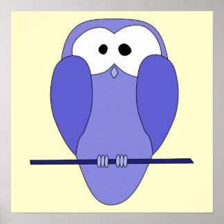 Desenhos animados bonitos da coruja Azul Posters
