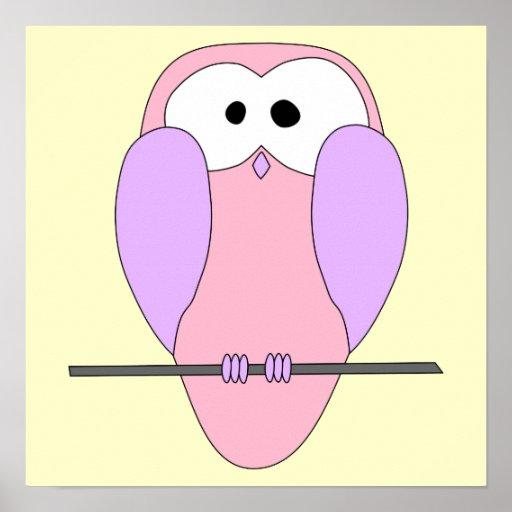 Desenhos animados bonitos da coruja. Rosa Impressão