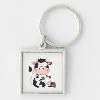 Desenhos animados bonitos da vaca do bebê chaveiro quadrado na cor prata
