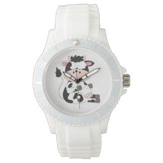Desenhos animados bonitos da vaca do bebê relógio de pulso