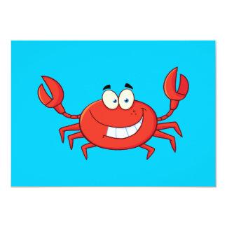 Desenhos animados bonitos do caranguejo convite personalizado