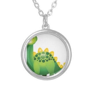 Desenhos animados bonitos do dinossauro verde colar banhado a prata