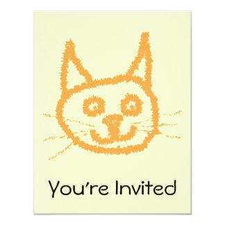 Desenhos animados bonitos do gato do gengibre, no convite personalizado