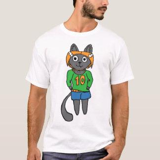 Desenhos animados bonitos do gato na moda camiseta