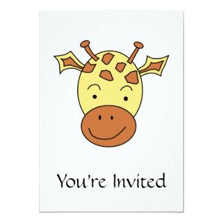 Desenhos animados bonitos do girafa convite 12.7 x 17.78cm