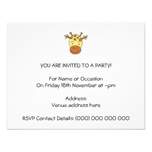 Desenhos animados bonitos do girafa convite personalizados