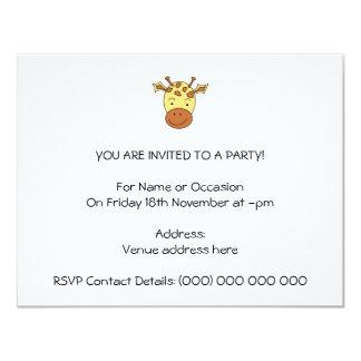 Desenhos animados bonitos do girafa convite 10.79 x 13.97cm