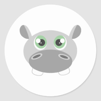 Desenhos animados bonitos do hipopótamo adesivo redondo