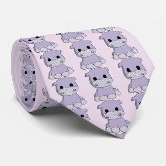 Desenhos animados bonitos do hipopótamo do bebê gravata