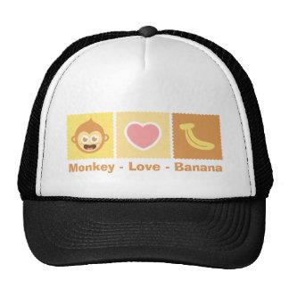 Desenhos animados bonitos do macaco - amor - banan boné