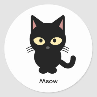 Desenhos animados bonitos do meow do gato preto adesivo