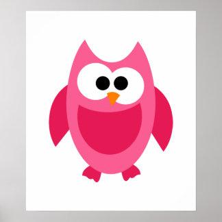 Desenhos animados bonitos do pássaro cor-de-rosa pôster