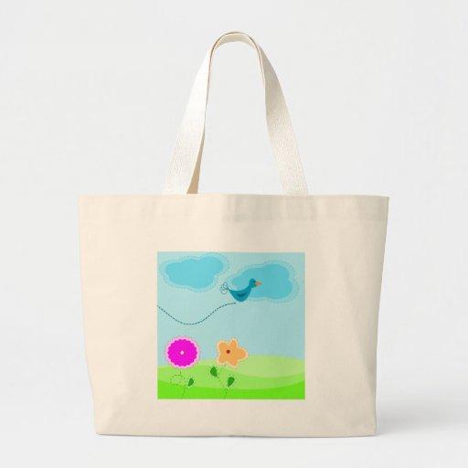 Desenhos animados bonitos do pássaro e da flor bolsa para compras