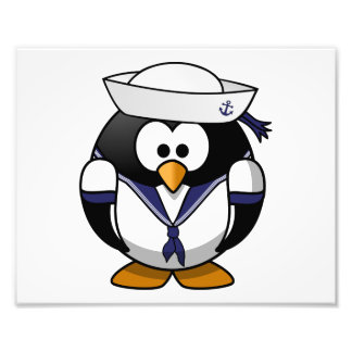 Desenhos animados bonitos do pinguim do marinheiro foto artes