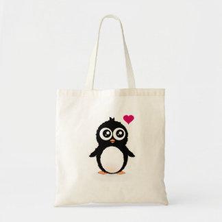 Desenhos animados bonitos do pinguim sacola tote budget