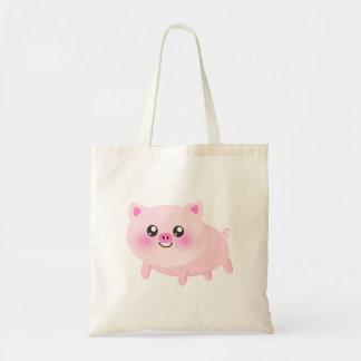 Desenhos animados bonitos do porco sacola tote budget