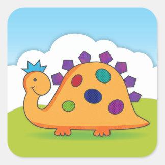 Desenhos animados bonitos e coloridos dinossauro adesivos quadrados