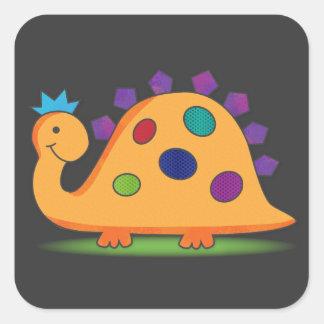 Desenhos animados bonitos e coloridos dinossauro adesivo quadrado