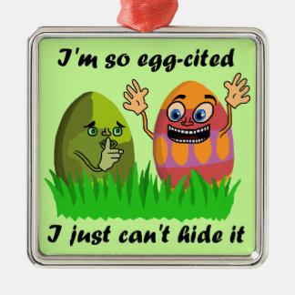 Desenhos animados bonitos engraçados dos ovos da ornamento quadrado cor prata