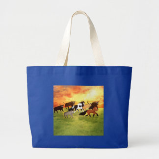 Desenhos animados bonitos que funcionam cavalos sacola tote jumbo